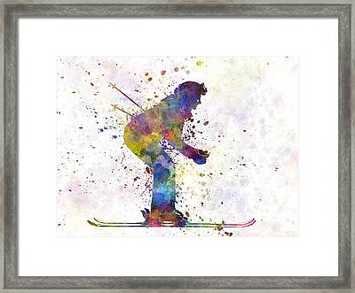 Woman Skier Skiing Framed Print by Pablo Romero