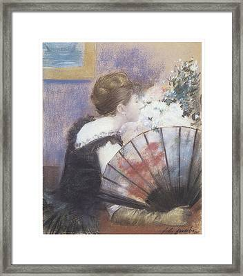 Woman Smelling Flowers Framed Print by Jean-Louis Forain
