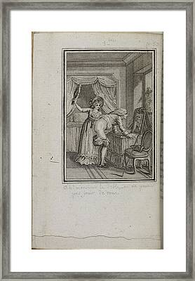 Woman Spanking Bare-bottomed Man Framed Print by British Library