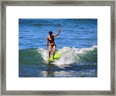 Woman Surfer Framed Print by Alexandra Jordankova