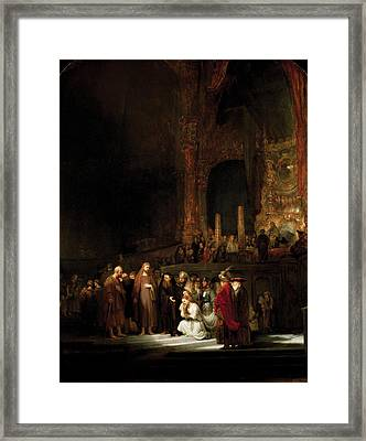 Woman Taken In Adultry To Jesus Framed Print by Rembrandt