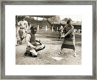 Woman Tennis Star At Bat Framed Print by Underwood Archives