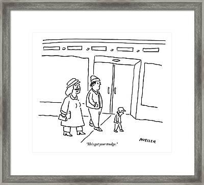 Woman To Man On A Sidewalk Framed Print by Peter Mueller