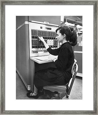Woman Using Ibm 650 Computer Framed Print by Underwood Archives