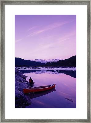 Woman Viewing Lake Next To Canoe Shoup Framed Print by Michael DeYoung