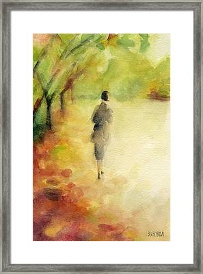 Woman Walking Autumn Landscape Watercolor Painting Framed Print by Beverly Brown