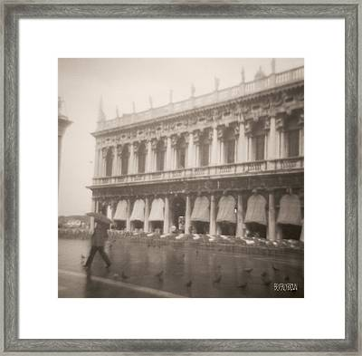 Woman Walking In The Rain Framed Print by Beverly Brown Prints