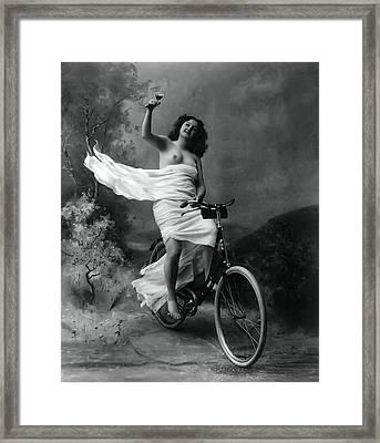 Woman - Wine - Bicycle  1897 Framed Print by Daniel Hagerman