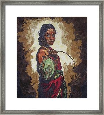 Woman With A Coconut Framed Print by Mihira Karra