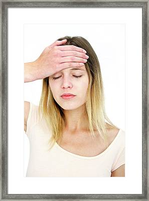 Woman With A Headache Framed Print by Lea Paterson