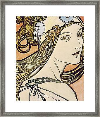 Woman With A Headscarf Framed Print by Alphonse Marie Mucha