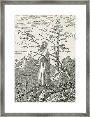 Woman With A Raven On The Edge Of A Precipice Framed Print by Caspar David Friedrich
