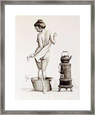 Woman With A Towel 1890s Framed Print by Art By - Ti   Tolpo Bader
