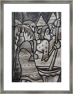 Woman With Baby On Her Back Pound The Yam. Framed Print by Okunade Olubayo