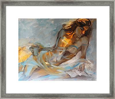 Woman With Book Framed Print by Nelya Shenklyarska
