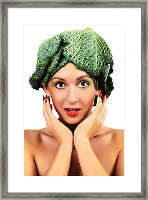 Woman With Cabbage Head Framed Print by Radka Linkova