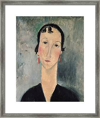 Woman With Earrings Framed Print by Amedeo Modigliani