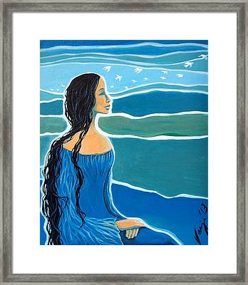 Woman With Flying Thoughts Framed Print by Vanja Zogovic