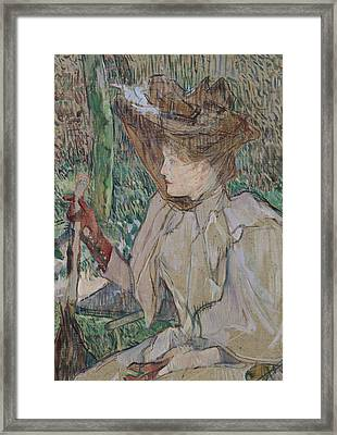 Woman With Gloves Framed Print by Henri de Toulouse-Lautrec