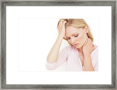 Woman With Hand On Head Framed Print by Ian Hooton