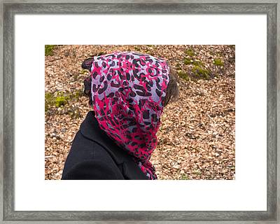 Woman With Headscarf In The Forest - Quirky And Surreal Framed Print by Matthias Hauser