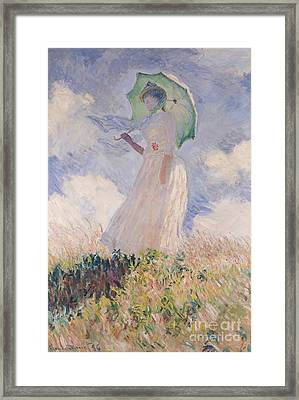 Woman With Parasol Turned To The Left Framed Print by Claude Monet