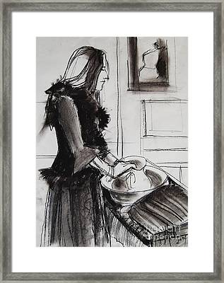 Woman With Small Pitcher - Model #6 - Figure Series Framed Print by Mona Edulesco