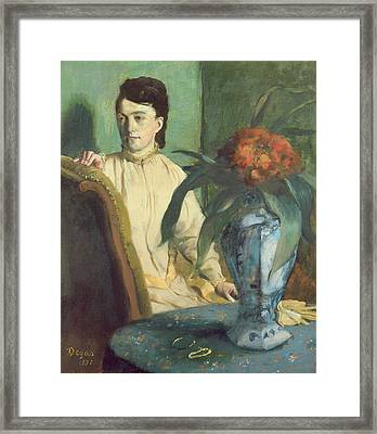 Woman With The Oriental Vase Framed Print by Edgar Degas