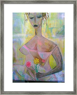 Woman With Three Flowers Framed Print by Robert Daniels