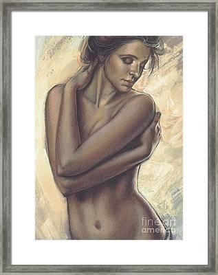 Woman With White Drape Crop Framed Print by Zorina Baldescu