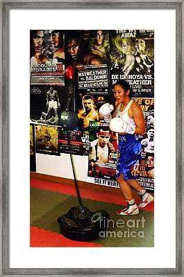 Woman's Boxing Champion Filipino American Ana Julaton Working Out Framed Print by Jim Fitzpatrick