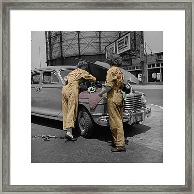 Women Auto Mechanics Framed Print by Andrew Fare