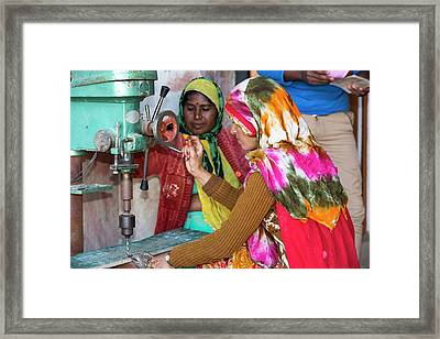 Women Building Solar Cookers Framed Print by Ashley Cooper