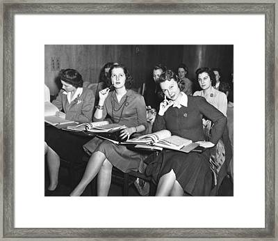 Women In Airline Class Framed Print by Underwood Archives