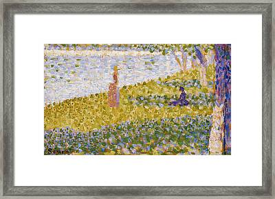 Women On The River Bank Framed Print by Georges Pierre Seurat