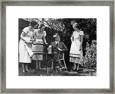Women Practice Serving Beer Framed Print by Underwood Archives