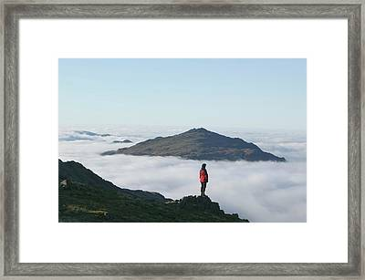 Women Walker Looking Towards Harter Fell Framed Print by Ashley Cooper
