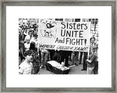 Women's Liberation Gathering Framed Print by Underwood Archives