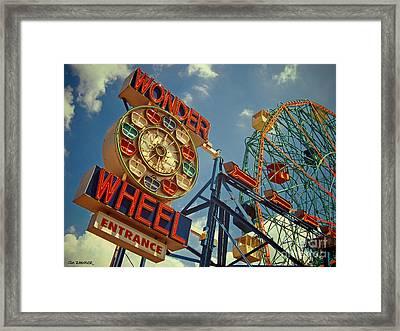 Wonder Wheel - Coney Island Framed Print by Carrie Zahniser