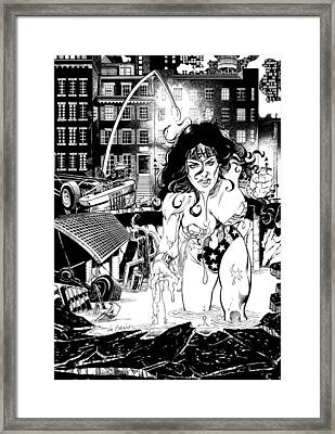 Wonder Woman Battle Framed Print by Ken Branch