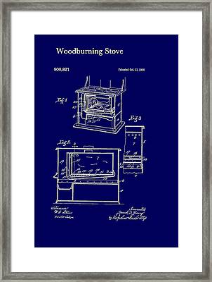 Wood Burning Stove Patent 1908 Framed Print by Mountain Dreams