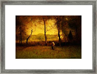 Wood Gatherers An Autumn Afternoon Framed Print by Celestial Images