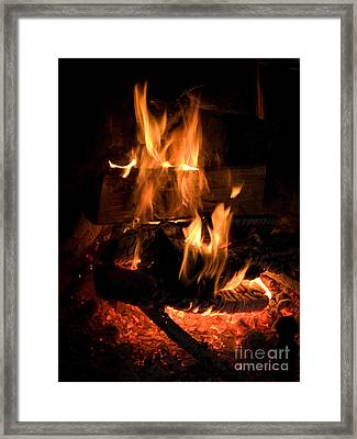 Wood In Open Fireplace Framed Print by Iris Richardson