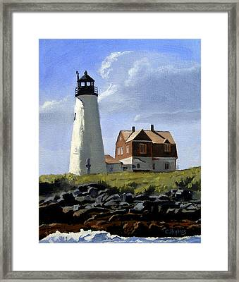 Wood Island Lighthouse Maine Framed Print by Christine Hopkins