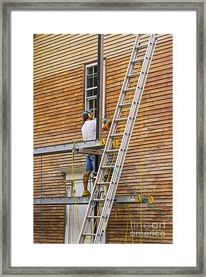 Wood Sanding The House Framed Print by Patricia Hofmeester