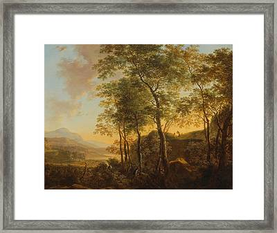 Wooded Hillside With A Vista Framed Print by Jan Both
