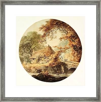 Wooded Landscape With A Cottage Beside A Bridge Framed Print by Celestial Images