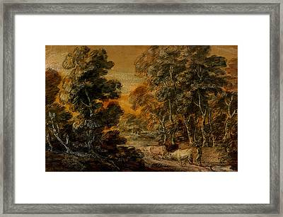 Wooded Landscape With Herdsman And Cattle Framed Print by Thomas Gainsborough