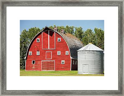 Wooden Barn On A Farm In Alberta Framed Print by Ashley Cooper