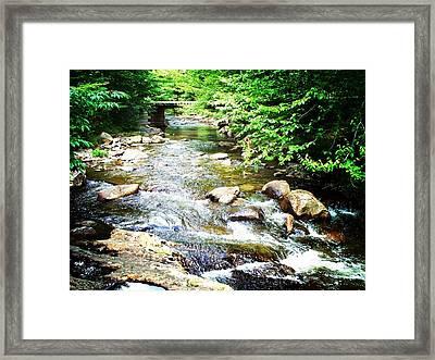 Wooden Bridge Framed Print by Joy Nichols
